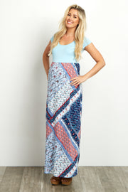 Light Blue Printed Maternity Maxi Dress