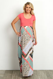 Coral Printed Maternity Maxi Dress