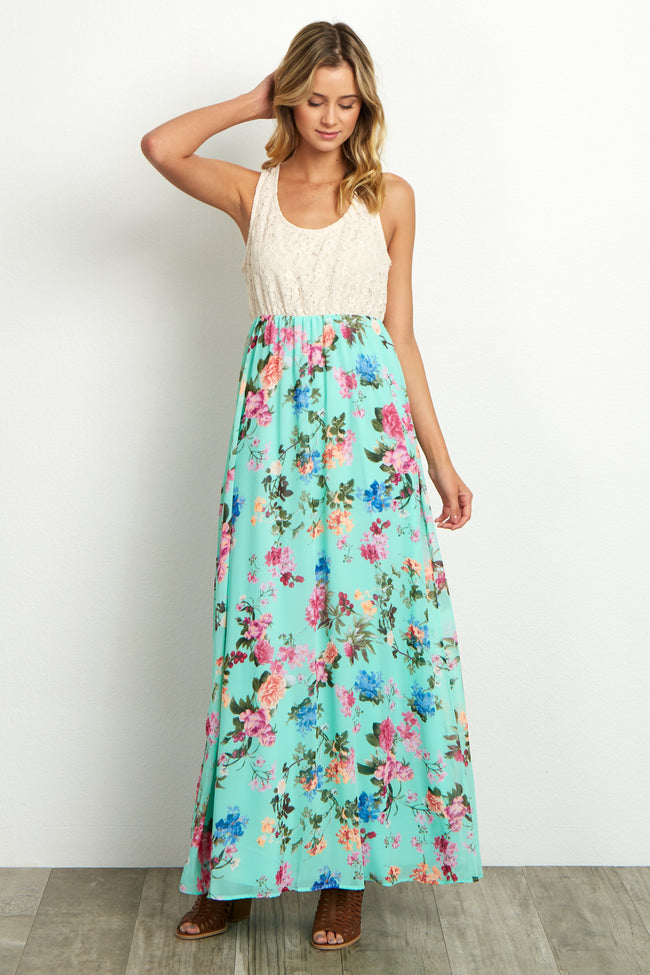 Mint Crochet Top Floral Maternity Maxi Dress