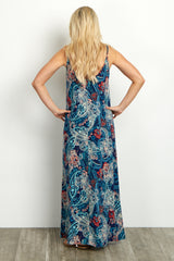 Navy Paisley Tie Front Maternity Maxi Dress