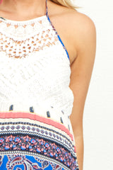 Royal Crochet Top Paisley Maternity Maxi Dress