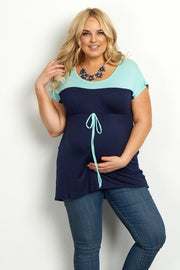 Navy Mint Colorblock Tie Front Plus Maternity Top