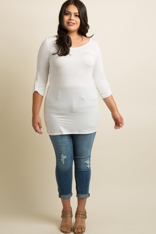 White Basic 3/4 Sleeve Plus Size Tunic