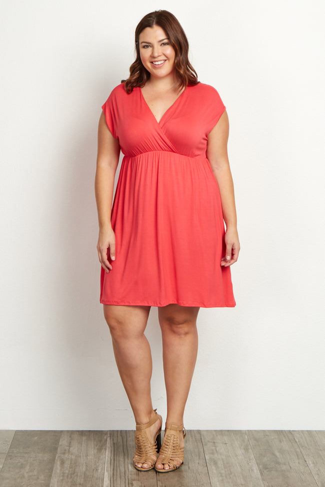 Coral Short Sleeve Plus Size Dress