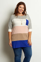 Grey Multi-Colored Colorblock Plus Maternity Top
