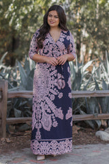 Navy Printed Draped Plus Maxi Dress