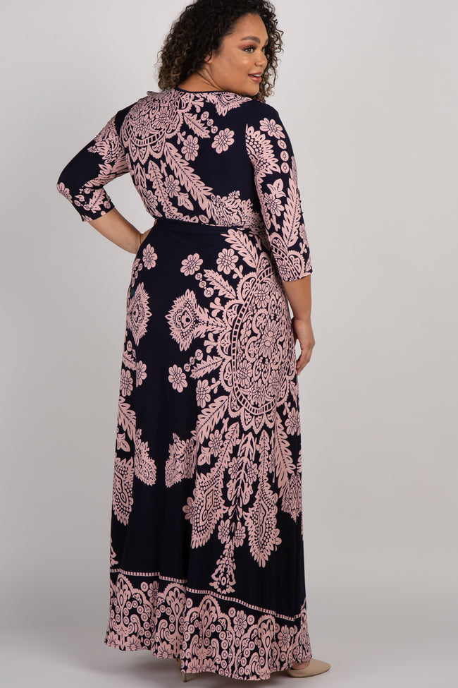 PinkBlush Navy Print Draped Plus Maternity/Nursing Maxi Dress