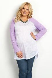 Lavender Colorblock Sleeve Plus Maternity Top