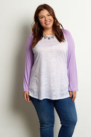 Lavender Colorblock Sleeve Plus Top