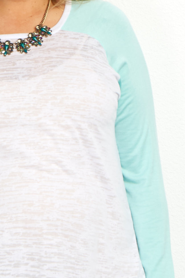 Mint Colorblock Sleeve Plus Maternity Top