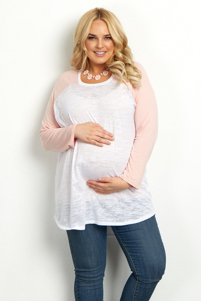 Light Pink Colorblock Sleeve Plus Top