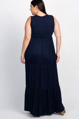 Navy Solid Tiered Plus Wrap Maxi Dress