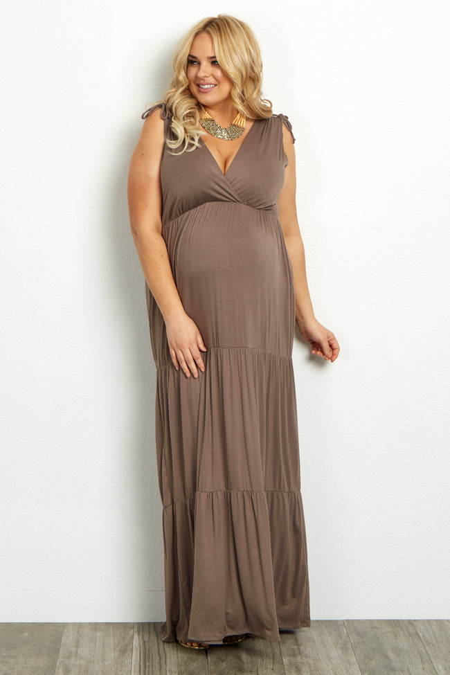 Mocha Solid Tiered Plus Maternity/Nursing Wrap Maxi Dress