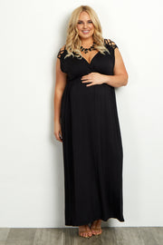 Black Woven Shoulder Plus Maternity/Nursing Maxi Dress