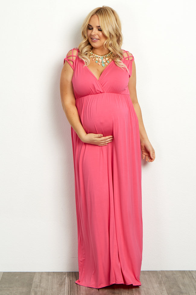 Fuchsia Woven Shoulder Plus Maternity/Nursing Maxi Dress