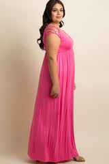 Fuchsia Woven Shoulder Plus Maxi Dress