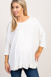 Ivory Ruffled Trim Dolman Sleeve Maternity Top