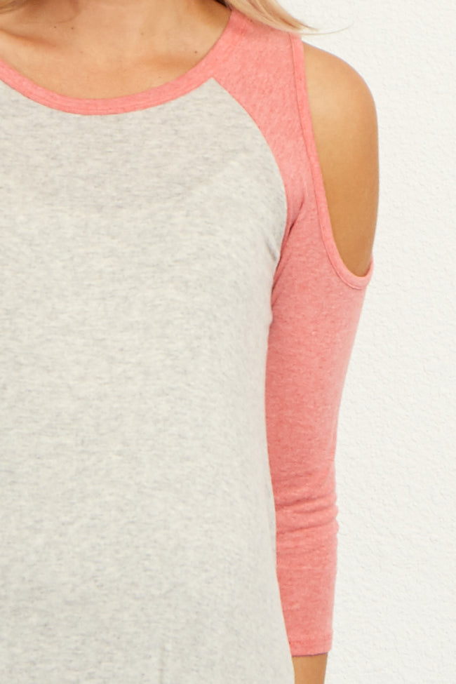 Coral Grey Open Shoulder Asymmetric Maternity Top