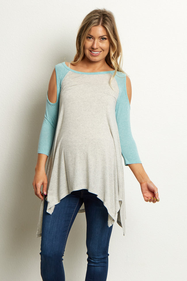 Mint Green Colorblock Open Shoulder Asymmetric Top