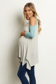 Mint Green Colorblock Open Shoulder Asymmetric Maternity Top