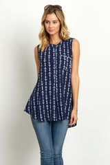 Navy Blue Tribal Button Front Blouse