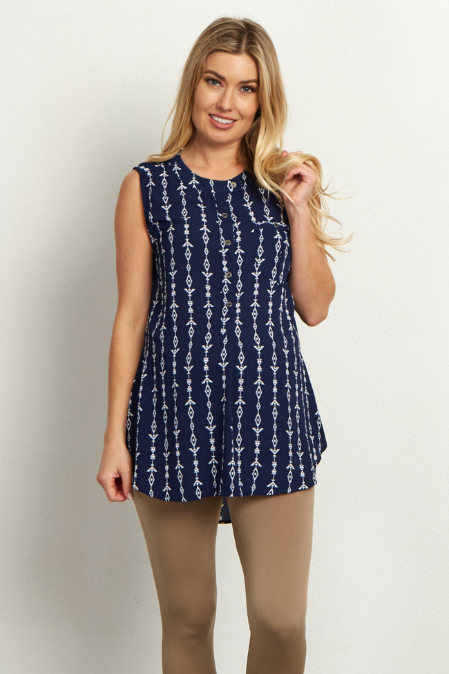 Navy Blue Tribal Button Front Maternity Blouse