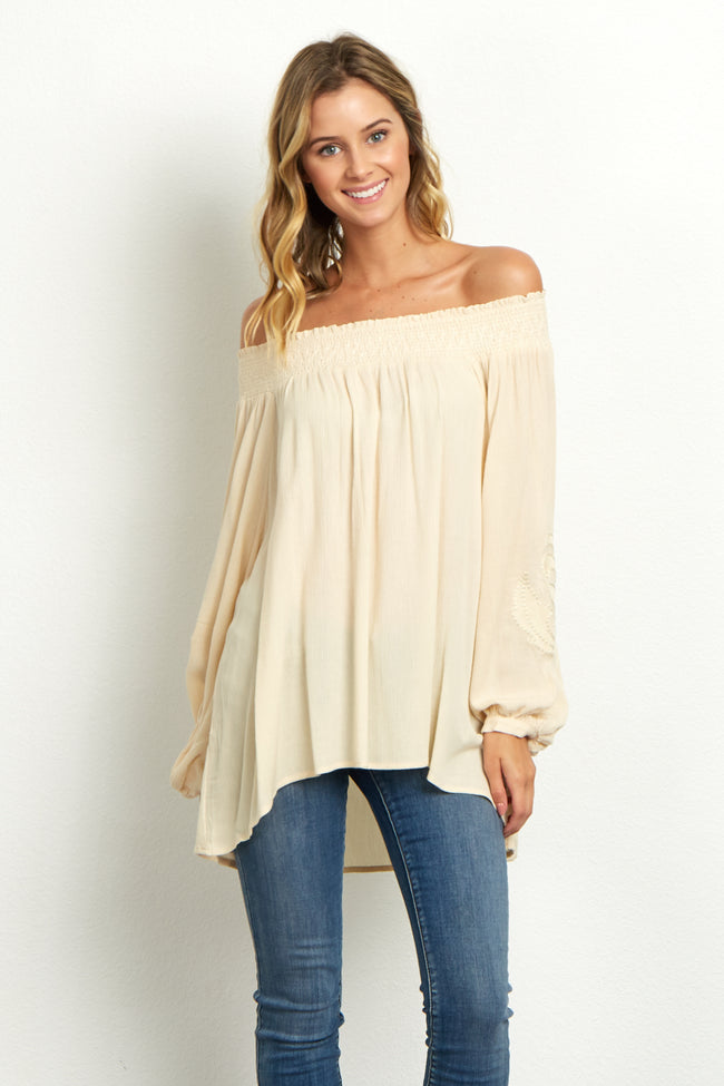 Beige Floral Embroidered Sleeve Top