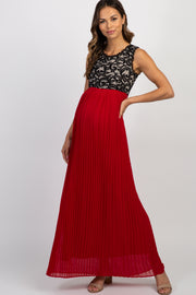 Red Pleated Chiffon Lace Top Maternity Maxi Dress