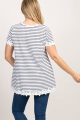 Black Striped Floral Trim Short Sleeve Maternity Top