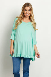 Mint Green Ruffled Trim Dolman Sleeve Maternity Top