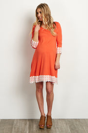 Coral Lace Trim 3/4 Sleeve Maternity Dress