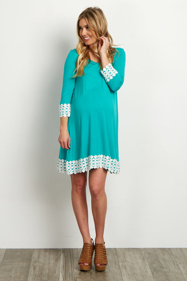 Jade Lace Trim 3/4 Sleeve Maternity Dress