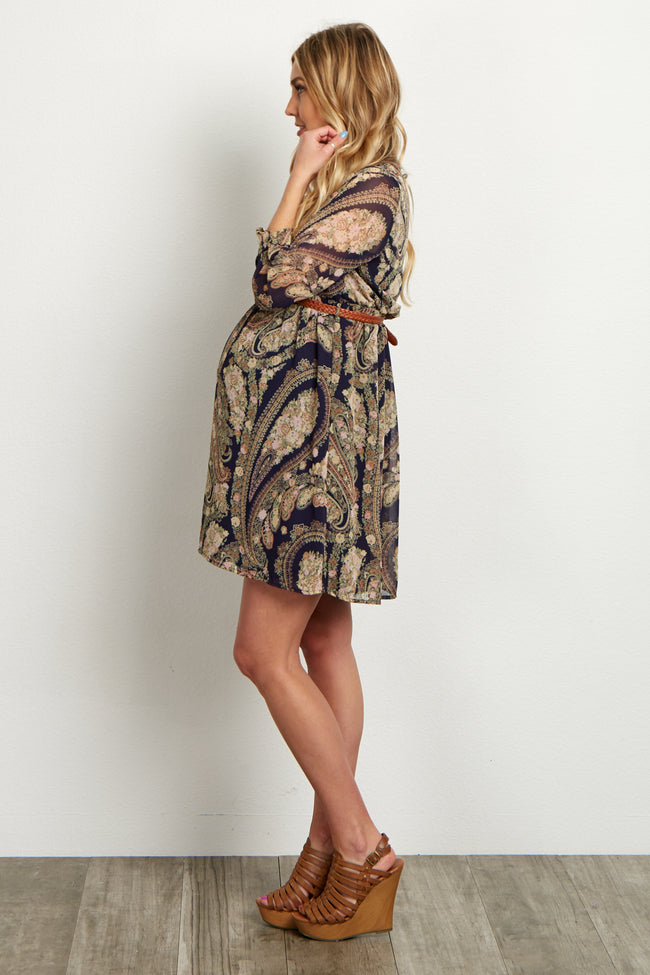 Navy Blue Floral Paisley Belted Chiffon Maternity Dress