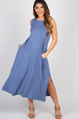 Blue Sleeveless Pocket Maternity Maxi Dress