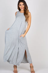 Grey Sleeveless Pocket Maxi Dress