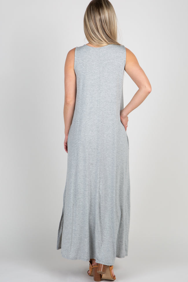 Grey Sleeveless Pocket Maternity Maxi Dress