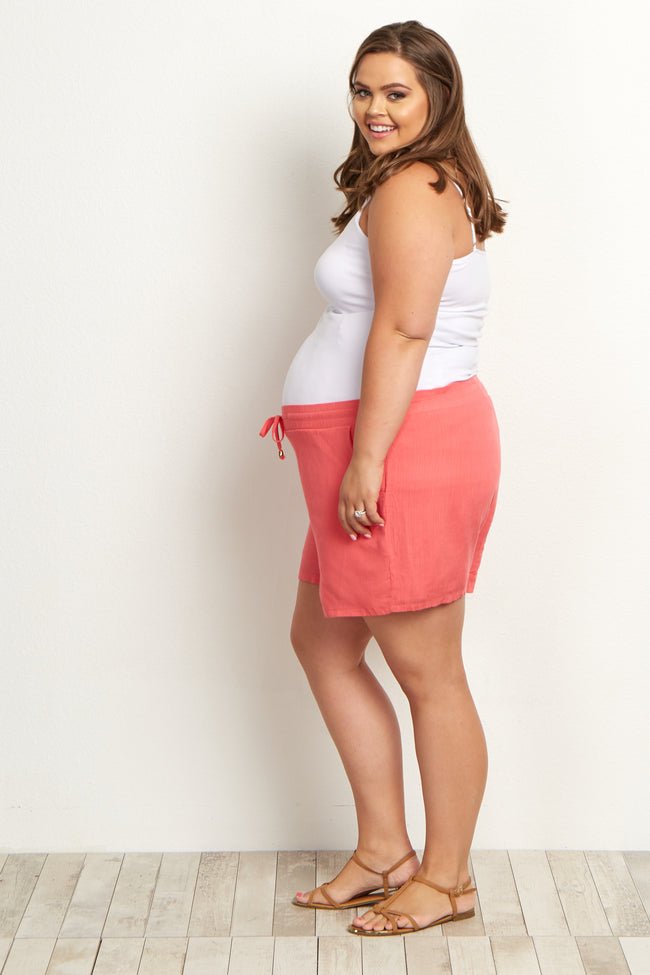 Coral Pocket Plus Size Maternity Shorts