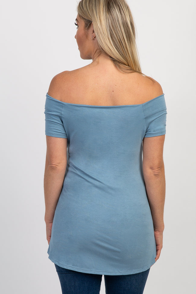 Blue Off Shoulder Short Sleeve Maternity Top