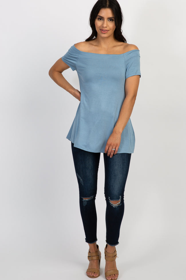 Blue Off Shoulder Short Sleeve Top