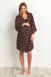 Black Pink Floral Delivery/Nursing Maternity Robe