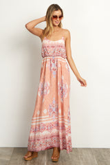 Peach Tribal Maternity Maxi Dress
