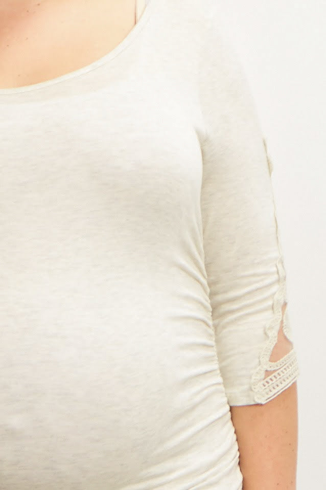 Beige Crochet Sleeve Fitted Plus Maternity Top