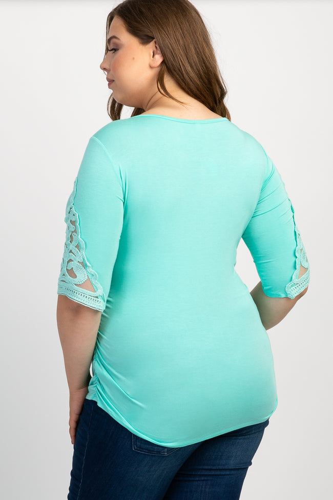 Mint Crochet Sleeve Fitted Plus Maternity Top