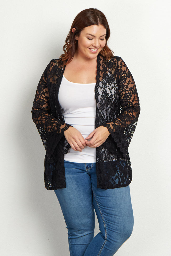 Black Lace Bell Sleeve Plus Size Maternity Cardigan