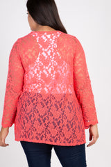 Coral Lace Bell Sleeve Plus Size Maternity Cardigan