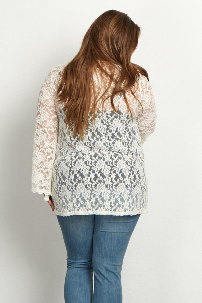 Ivory Lace Bell Sleeve Plus Size Maternity Cardigan