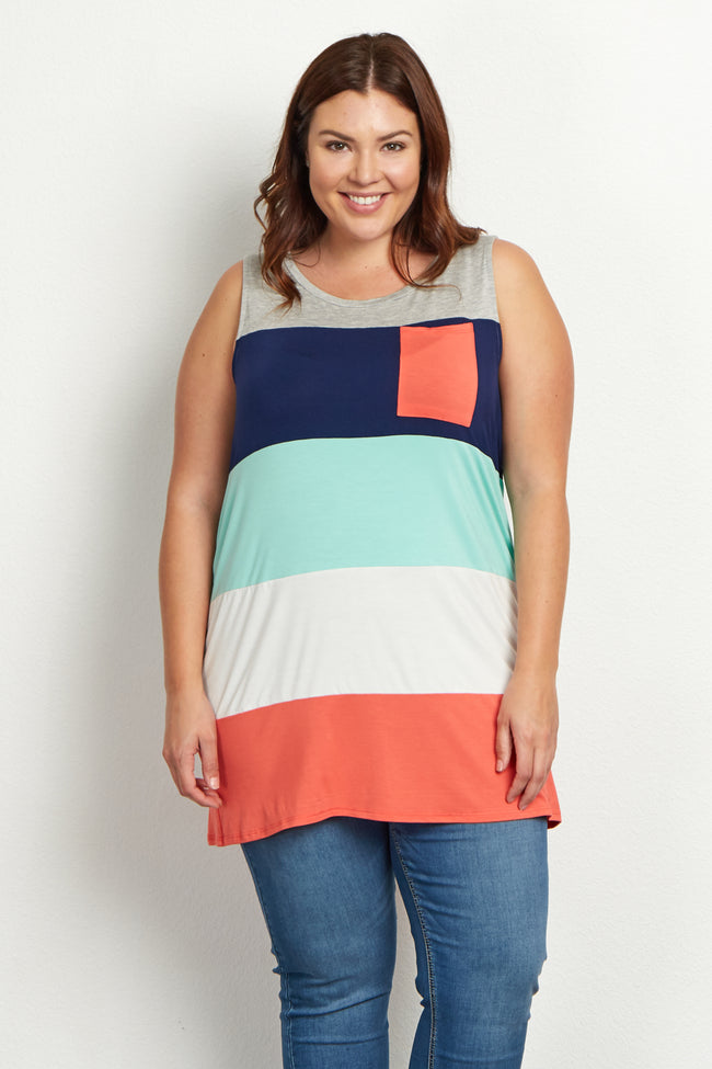 Grey Multi-Colored Colorblock Plus Size Tank Top