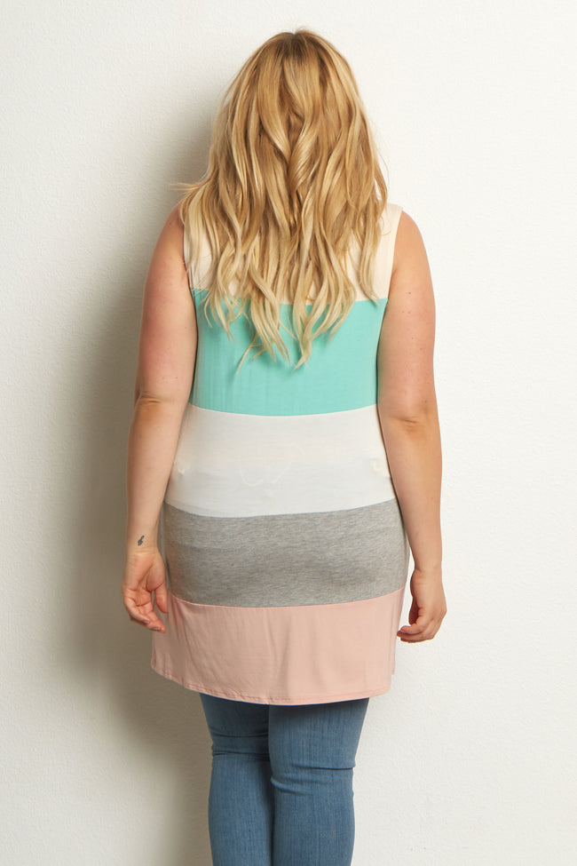 Beige Multi-Colored Colorblock Plus Size Maternity Tank Top