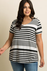 Black Alternating Striped Cuff Sleeve Plus Top