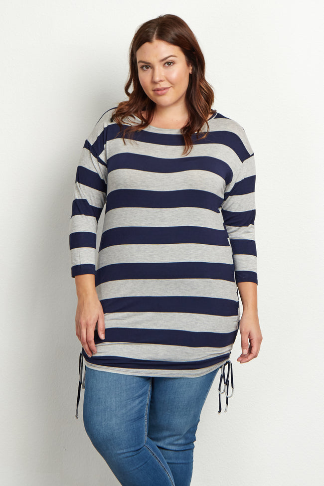 Navy Blue Grey Striped Tie Side Plus Size Tunic